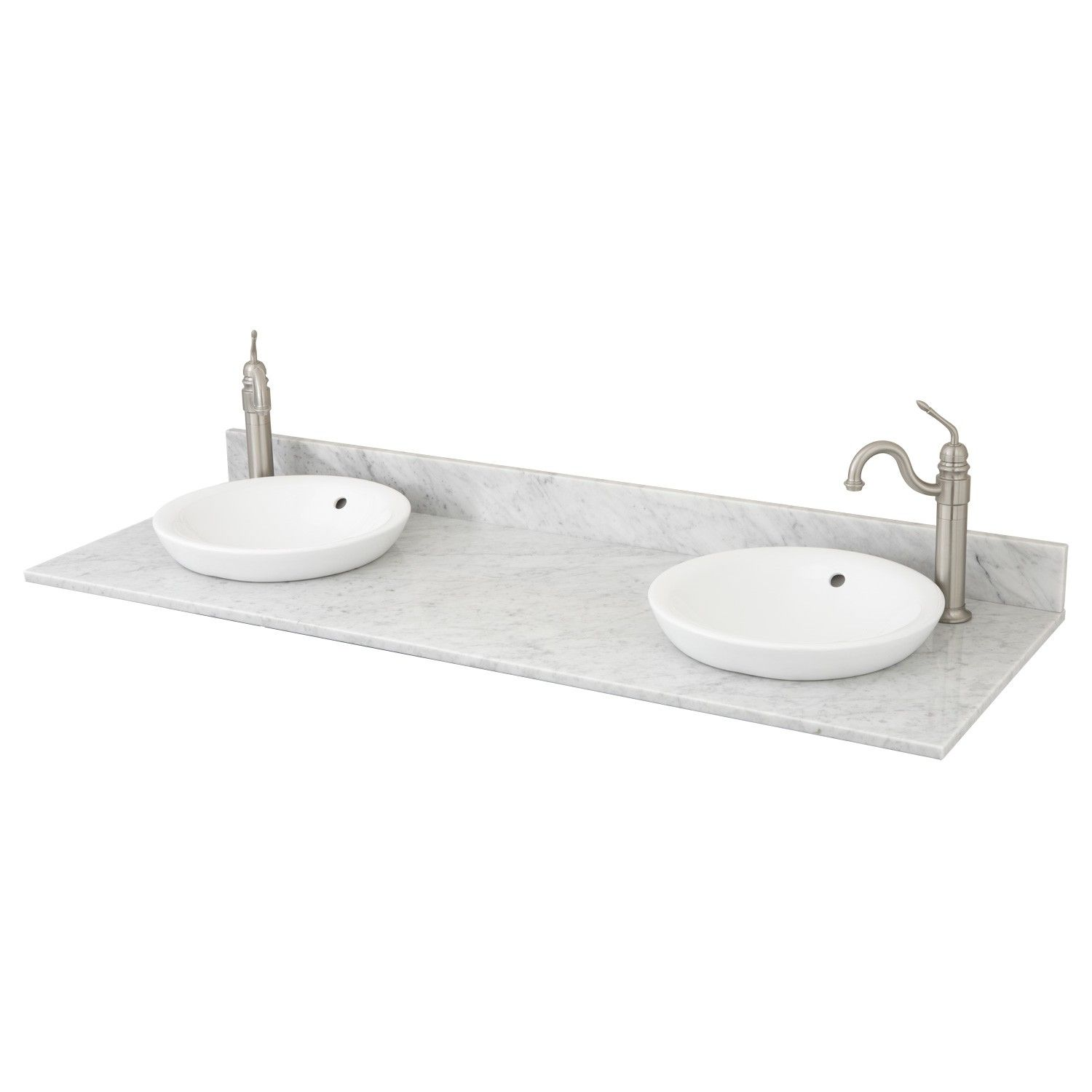 Marble Vanity Top for Double Semi-Recessed Sink - Offset Faucet Drillings -  Bathroom Vanities - Bathroom