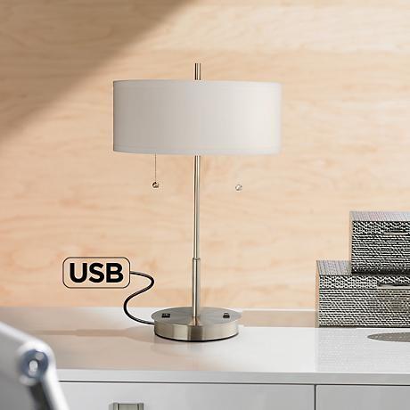 Nikola metal table lamp with usb port and utility plug 7j478 lamps plus