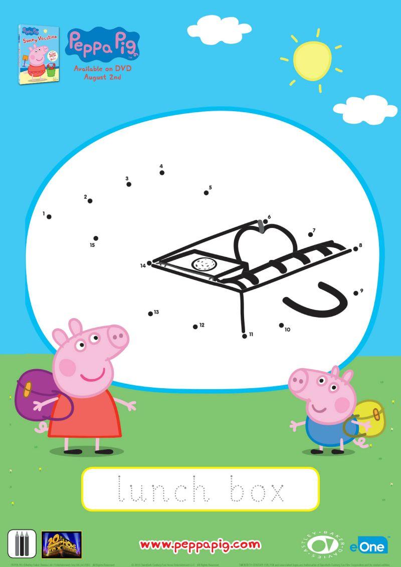 Peppa Pig Connect The Dots Lunch Box Peppa Pig Peppa Peppa Pig Birthday [ 1132 x 800 Pixel ]