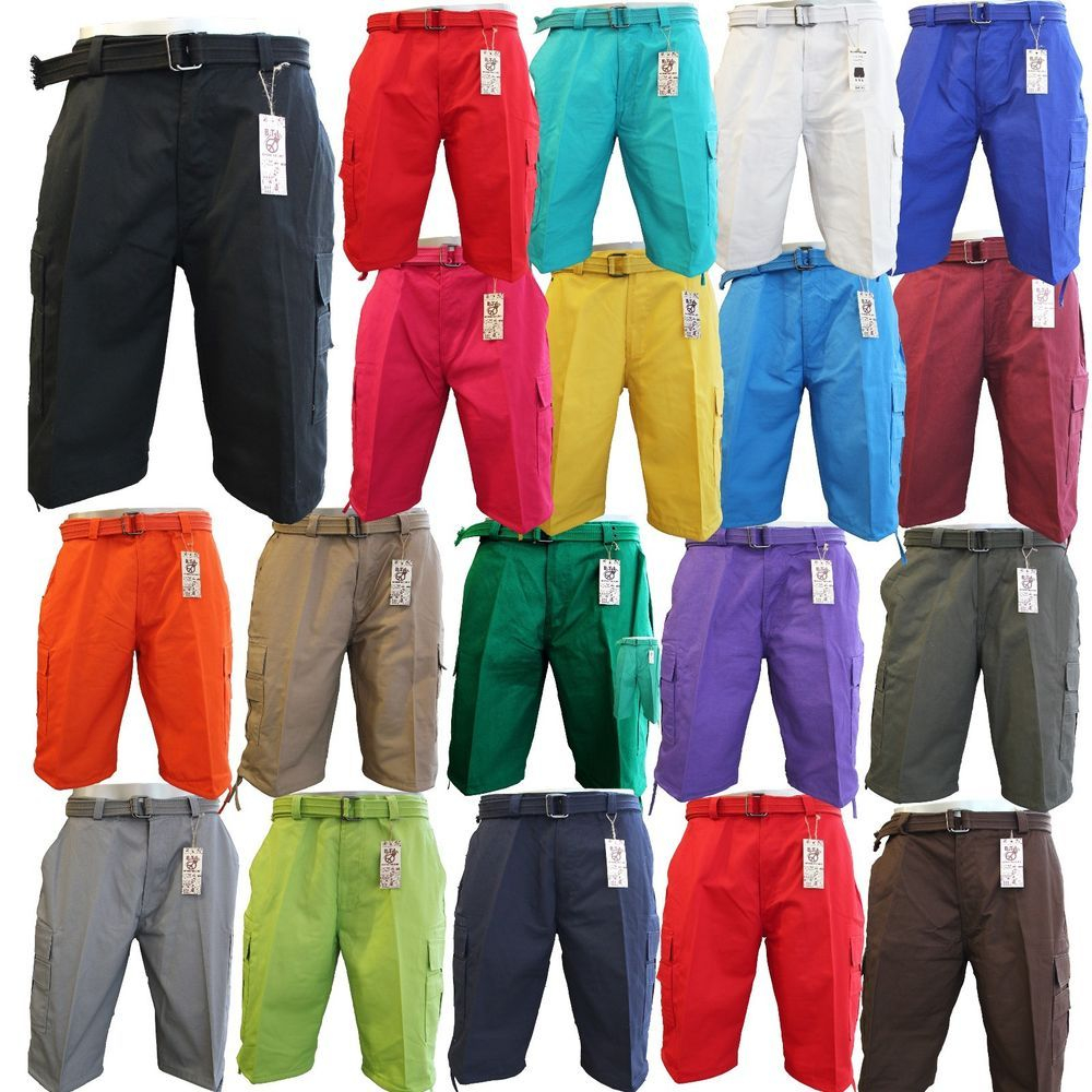 Men's BTL Cargo Shorts With Belt Cotton Twill 18 Colors Size 30~42 ...