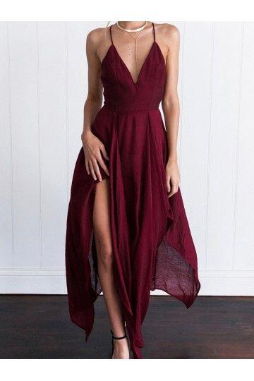 112aa9e1e1 Outlet Ruffles Burgundy Prom Evening Dresses Luscious Long Halter  Sleeveless Criss-Cross Dresses WF02G58-1124
