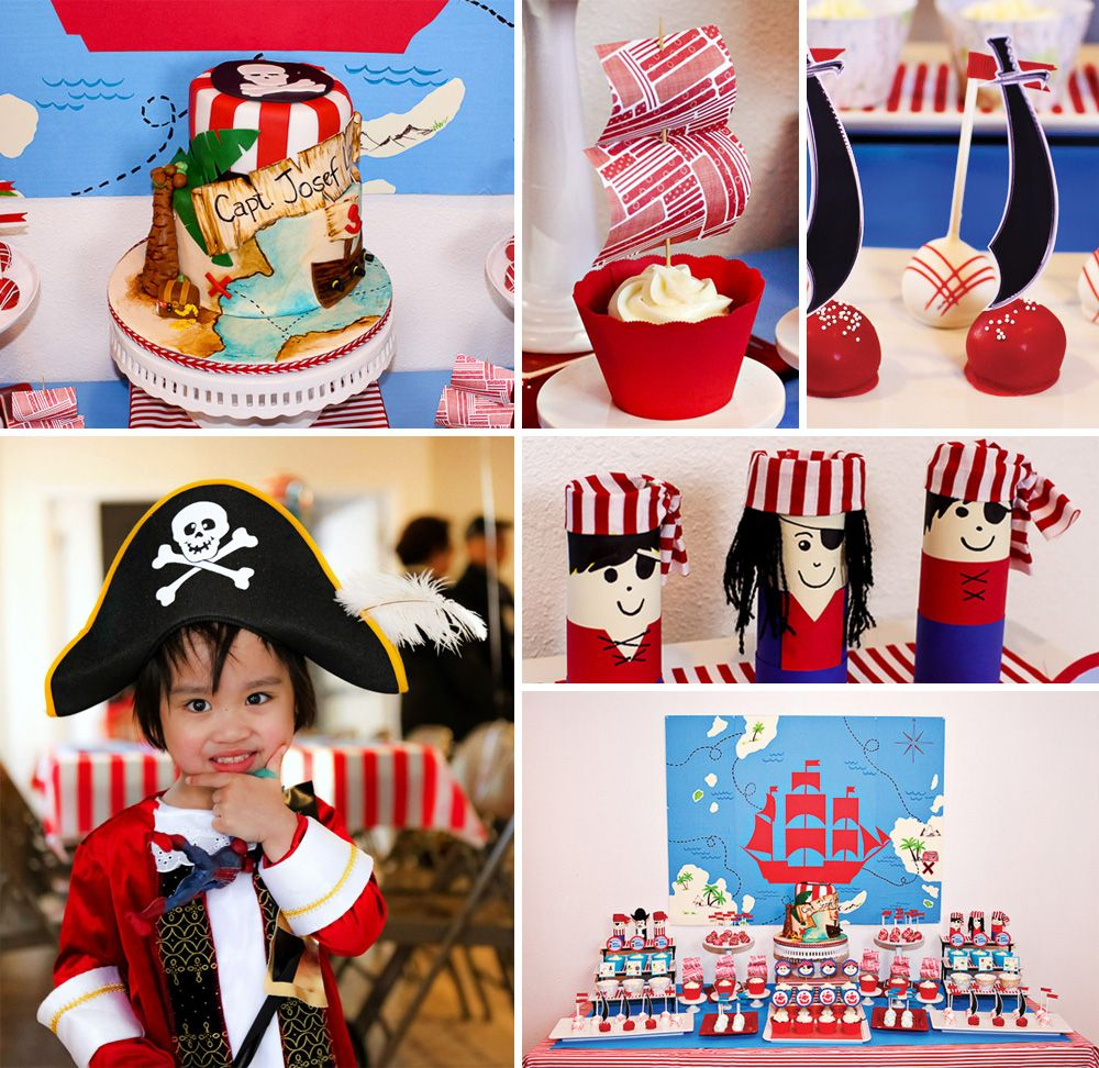 Arrrgghhh you ready for swords, ships and gold coins galore!? Check out this Red & Blue Boys Pirate Birthday Party by Sweet & Clever.