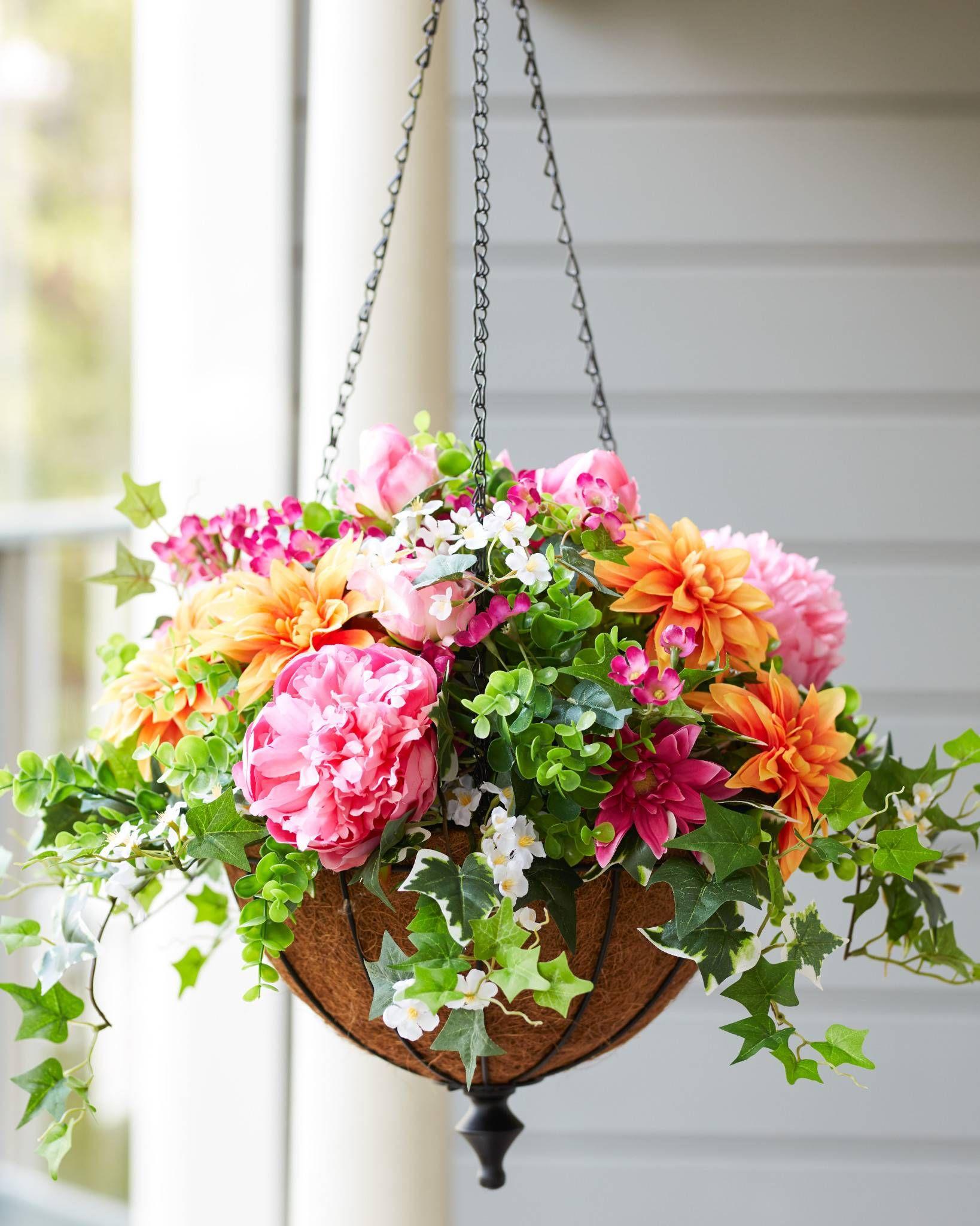 Outdoor Radiant Peony Artificial Flower Wreaths Balsam Hill Hanging Plants Indoor Hanging Plants Artificial Hanging Plants