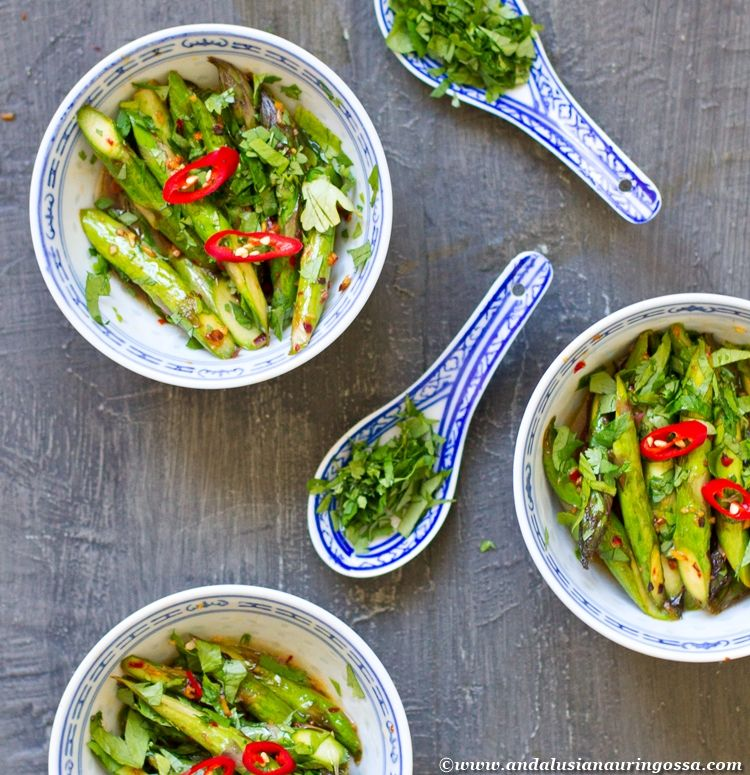 Stir-fried asparagus with tangy Asian vinaigrette and loads of coriander <3