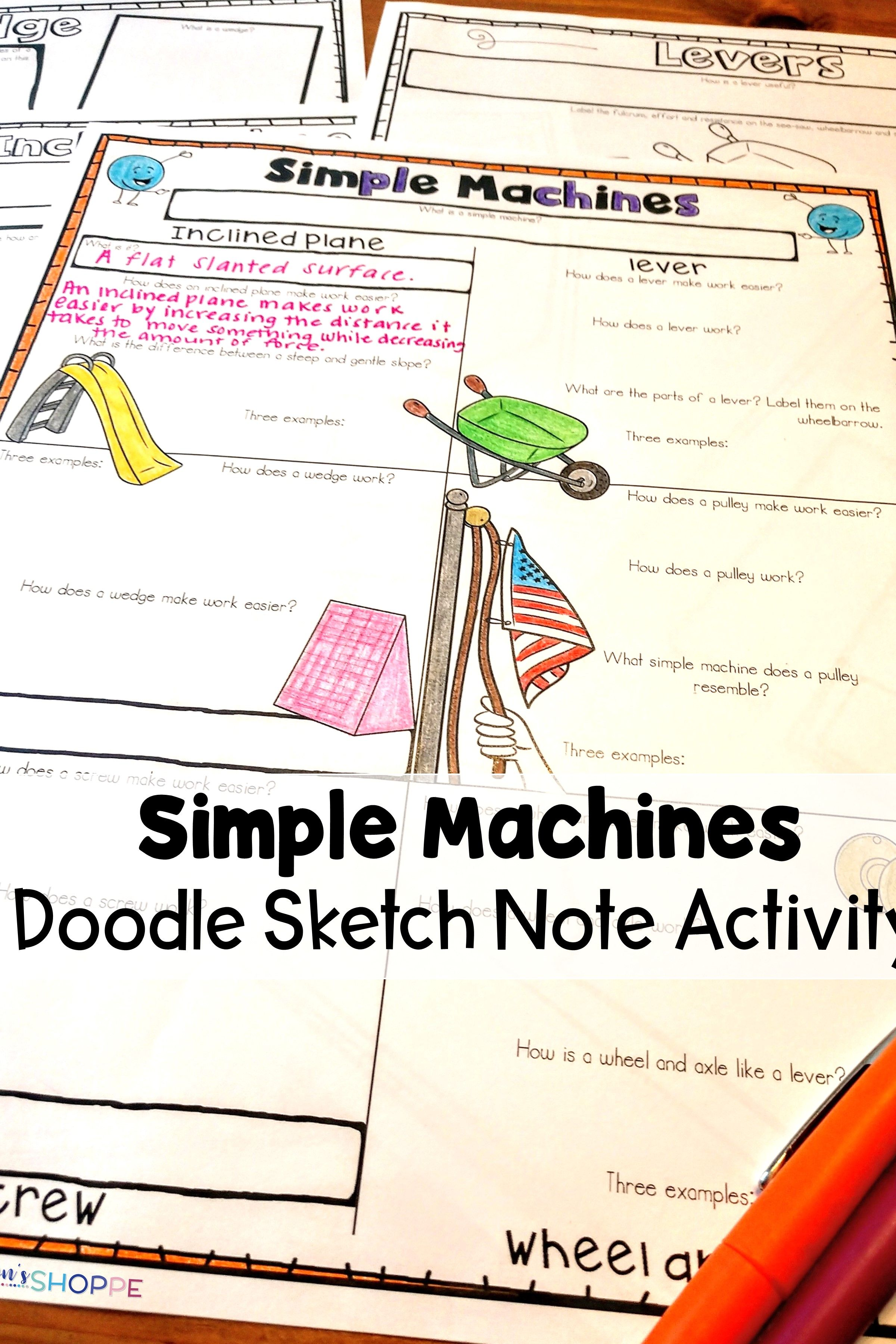 Simple Machines Sketch Notes Graphic Organizer Review