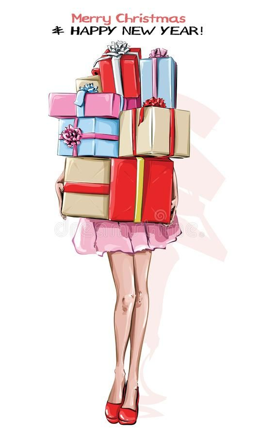 Hand drawn stylish woman with new year gifts. Girl in red ...