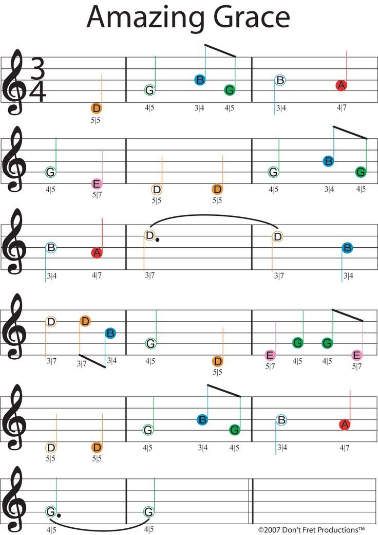 easy guitar sheet music for amazing grace featuring don't fret producitons color coded guitar ...