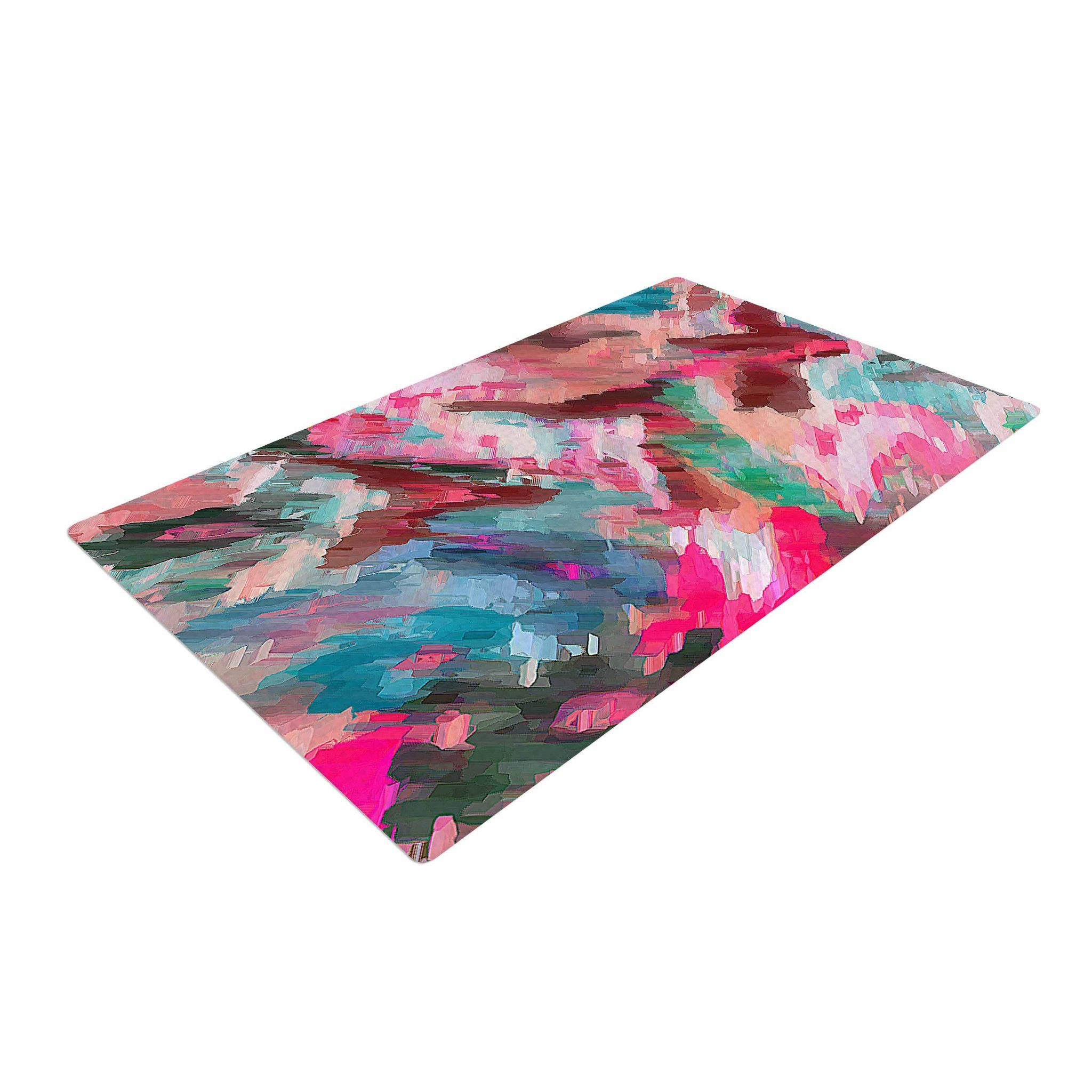 """Alison Coxon """"Giverny Pink"""" Teal Peach Woven Area Rug"""