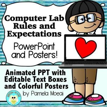 Computer Lab Editable Rules and Expectations PowerPoint and Posters