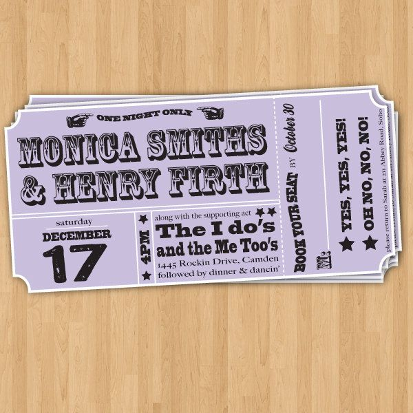 Henryk and Jess can agree on concert ticket invitations Wedding - invitations that look like concert tickets