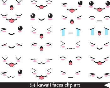 54 Png Files Kawaii Faces Digital Clip Art 300 Dpi 066 Kawaii Faces Digital Clip Art Graphics Kawaii Drawings