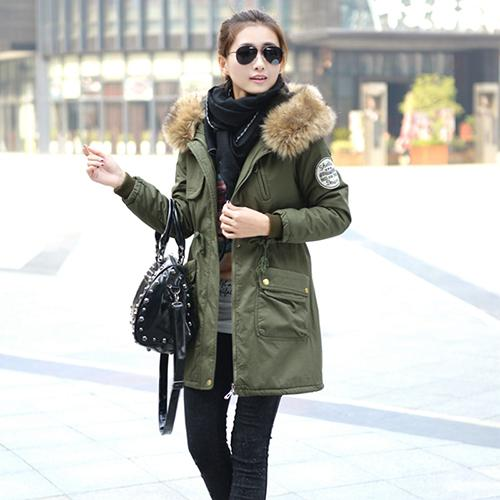 26ac39b1d48 Winter Jacket Women Faux Fur Coat With Hood Winter Jacket Thicken Solid  Female Military Long Parka Abrigos Plus Size Winter Jacket Women Faux Fur  Coat With ...