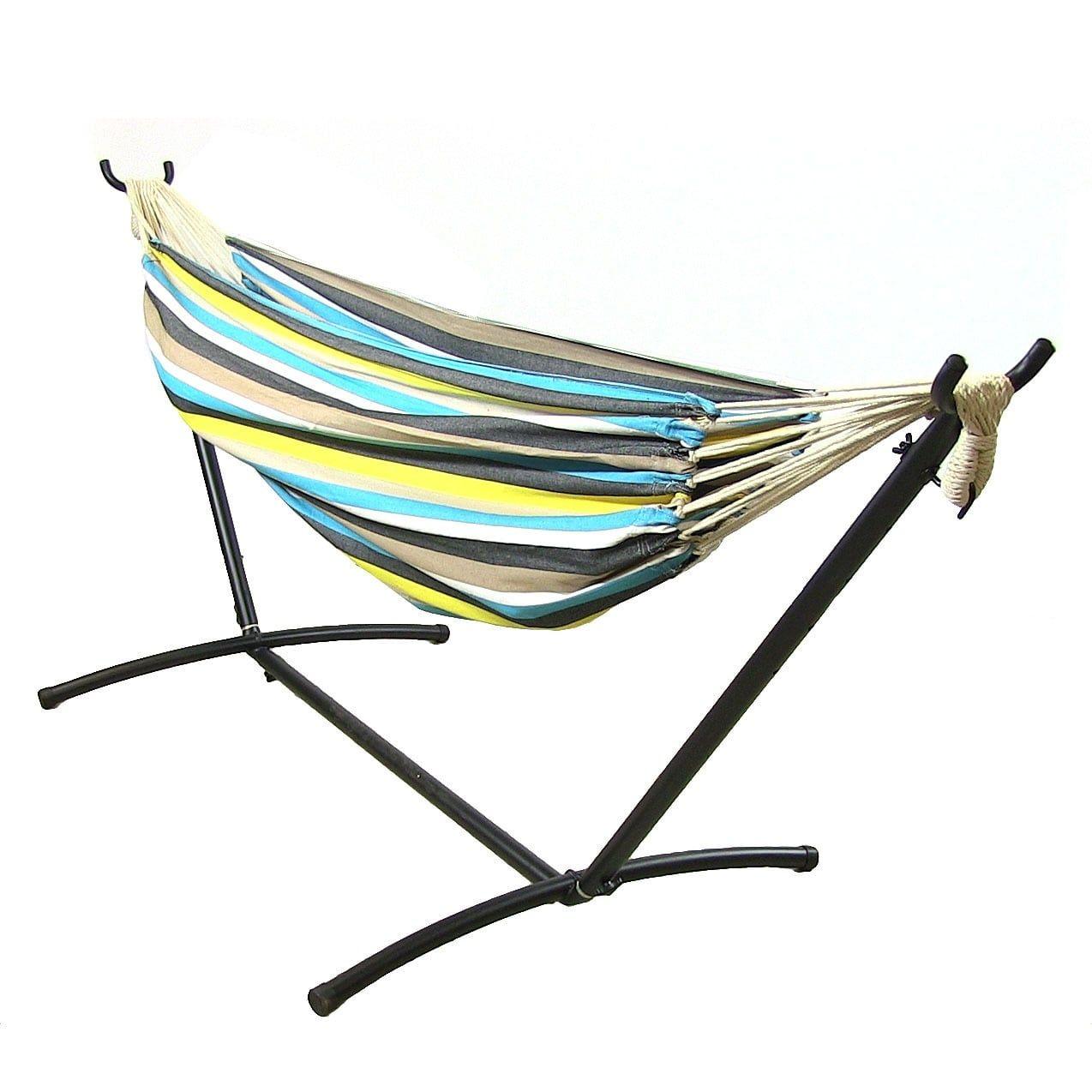 sunnydaze premium 100   natural tightly woven cotton double brazilian hammock  u0026 hammock stand  ocean sunnydaze premium 100   natural tightly woven cotton double      rh   pinterest