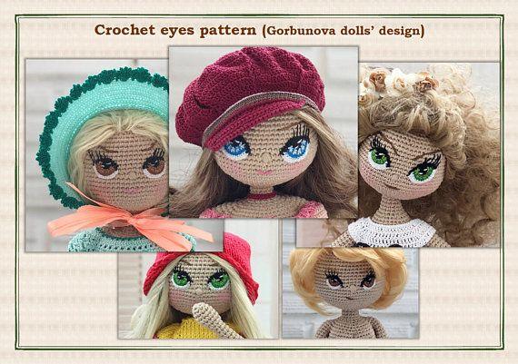 Eyes Crochet Pattern PDF for Amigurumi dolls, stuffed doll pattern ... | 401x570