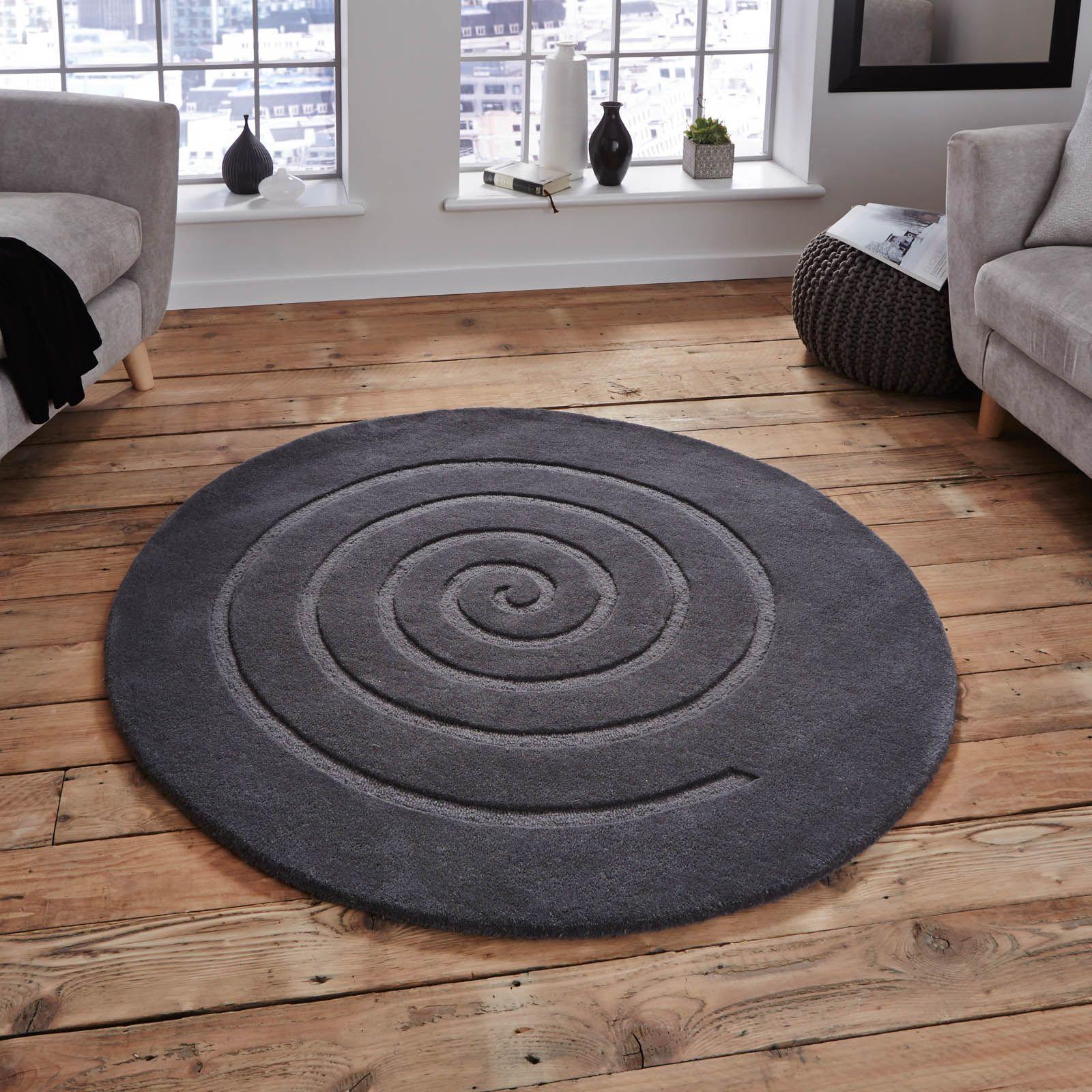Spiral Circular Wool Rugs In Grey