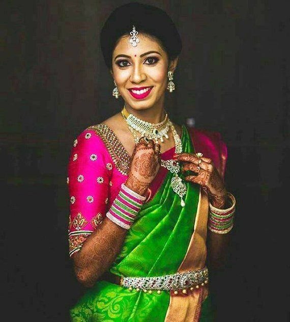Friends Wedding Hairstyles Kerala: Mesmerizing Handmade Rani Pink Blouse With Gold Floral