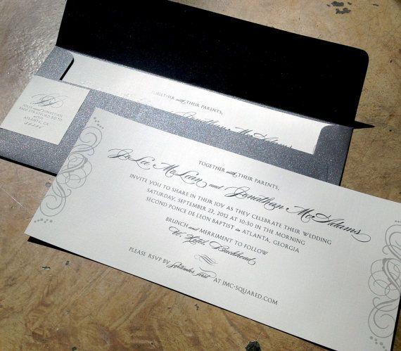 Elegant Wedding Invitation Swirl Flourish Custom Design 9 X 4 Card