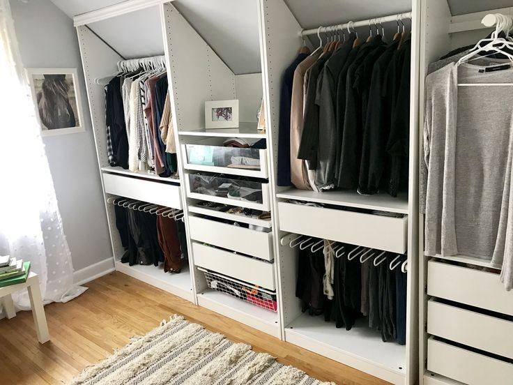 Custom Ikea Closet For Sloped Room Dressing Sous Combles Amenagement Combles Chambre Idee Dressing