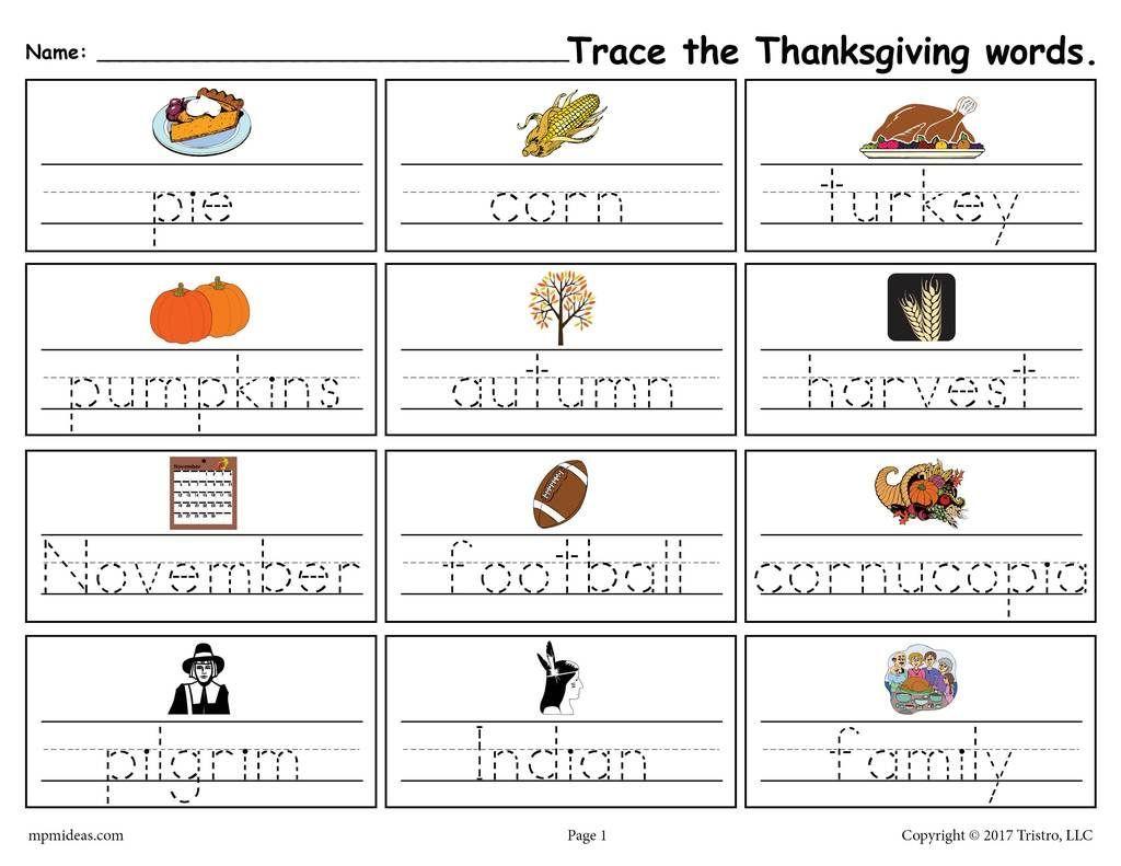 Printable Thanksgiving Words Handwriting Amp Tracing