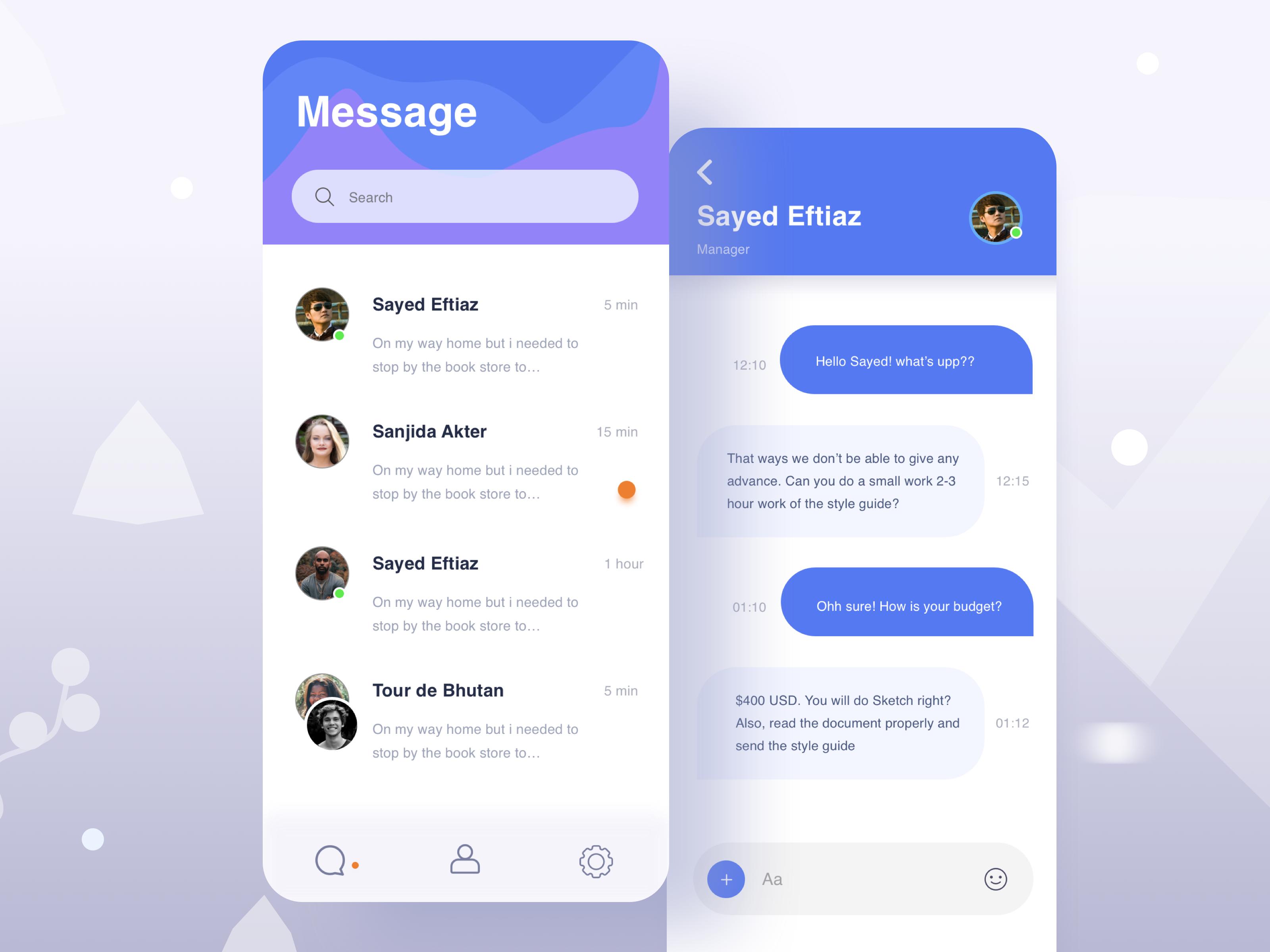 Chat Box Software development, Screen design, Chat app