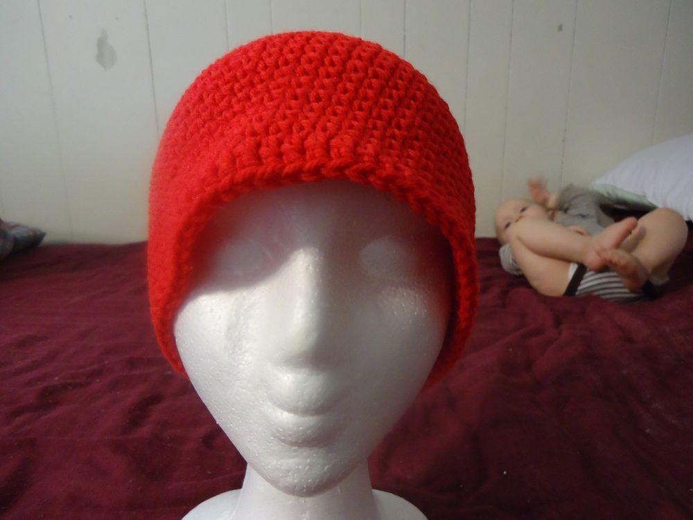 Adult teenager men women handmade crocheted red beanie