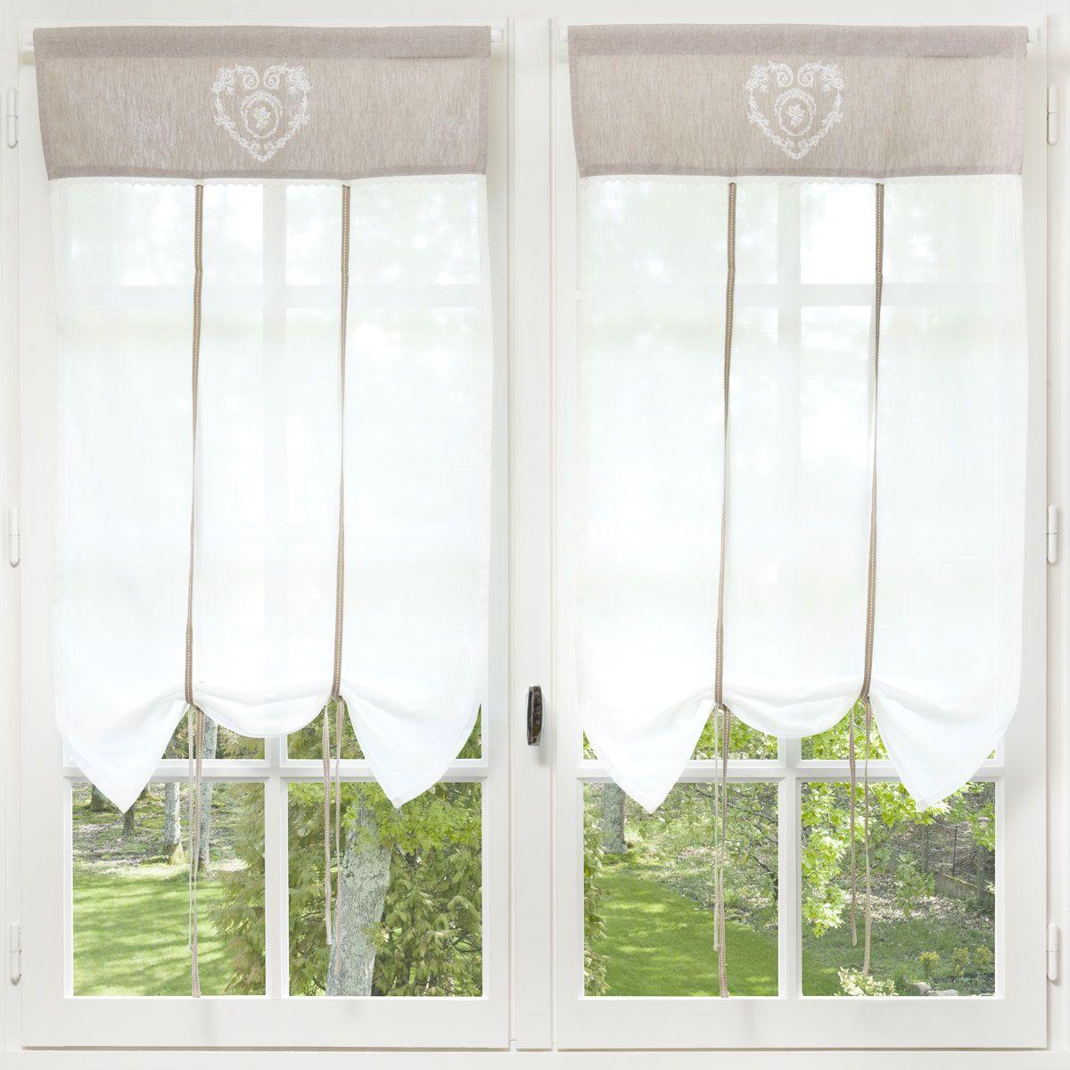 Rideau court en coton écru 60 x 110 cm CAMILLE | Shopping list ...