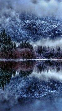 Jezioro Gory I Las Zimowa Mgla Otulila