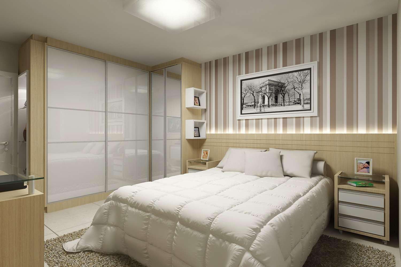 Decoração Quarto Casal Planejado + 1 000 Idéias para o  ~ Quarto Planejado Pequeno Casal Com Closet