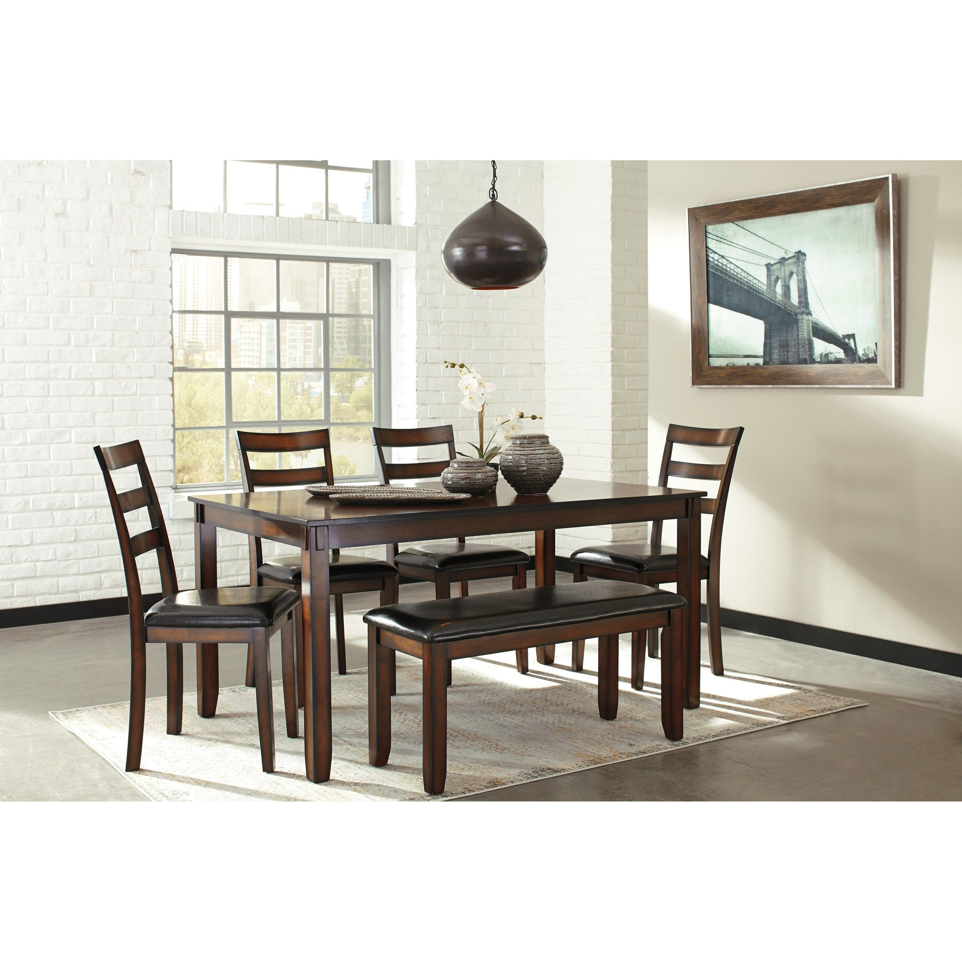 Burnished Brown 6 Piece Dining Table Set With Bench Dining Room