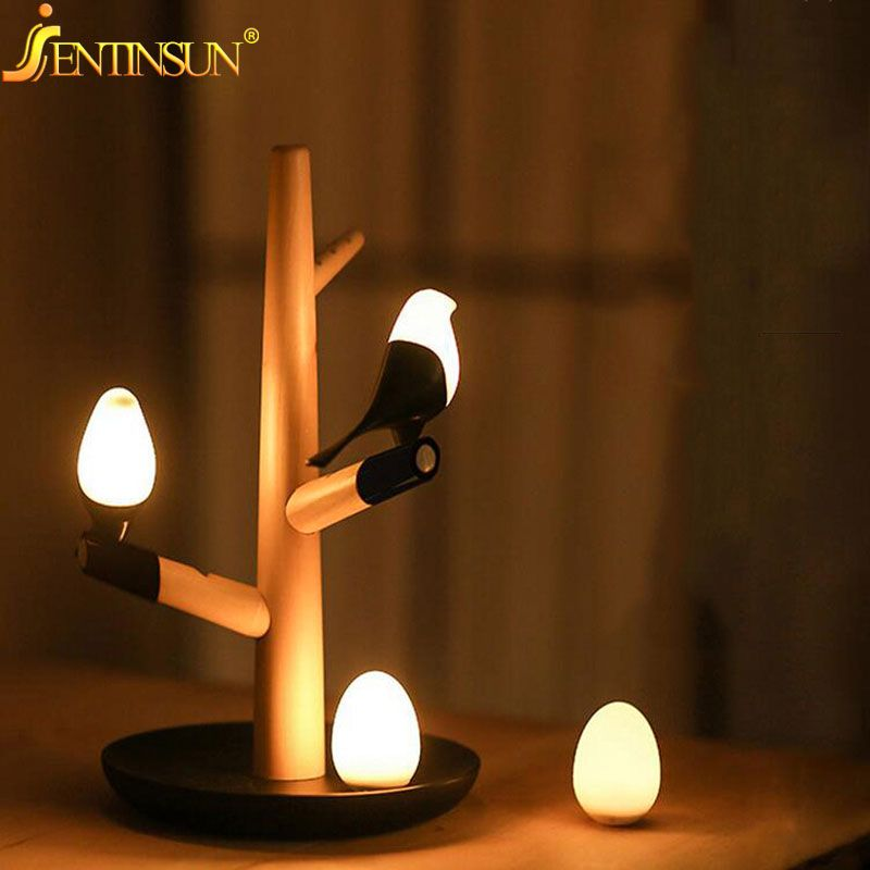 Chinese Style Bird Led Night Light Table Lamps Wall Intelligent Motion Sensor Lights Usb Rechargeable Lamp
