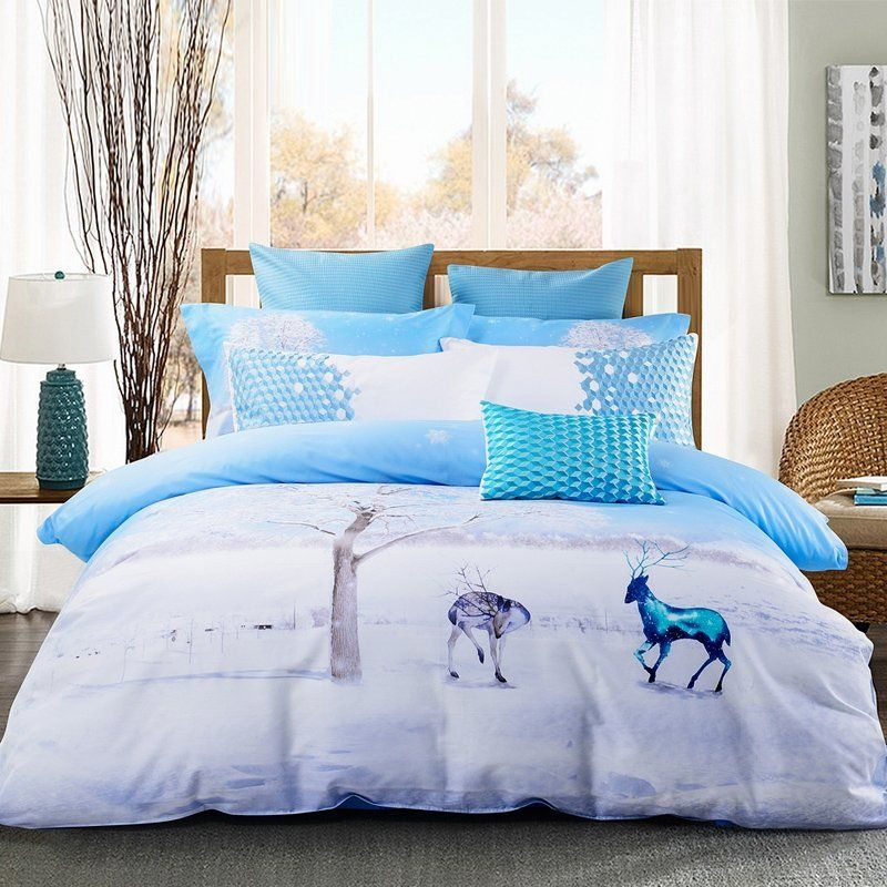 Best Ice Blue And White Animal Themed Deer Print Snowflake 400 x 300