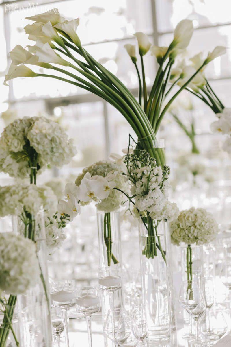 Wedding decorations in uganda  Modern White Wedding with Clear Decor  Modern wedding centerpieces