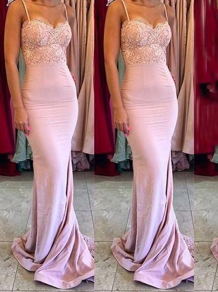 c78e58bd369b2e Pink Gorgeous Spaghetti Straps Mermaid Lace Backless Long Bridesmaid ...