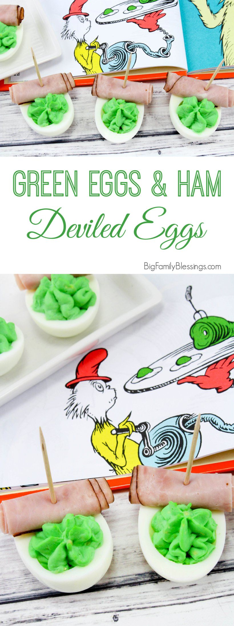 Dr. Seuss Green Eggs and Ham Deviled Eggs #greeneggsandhamrecipe