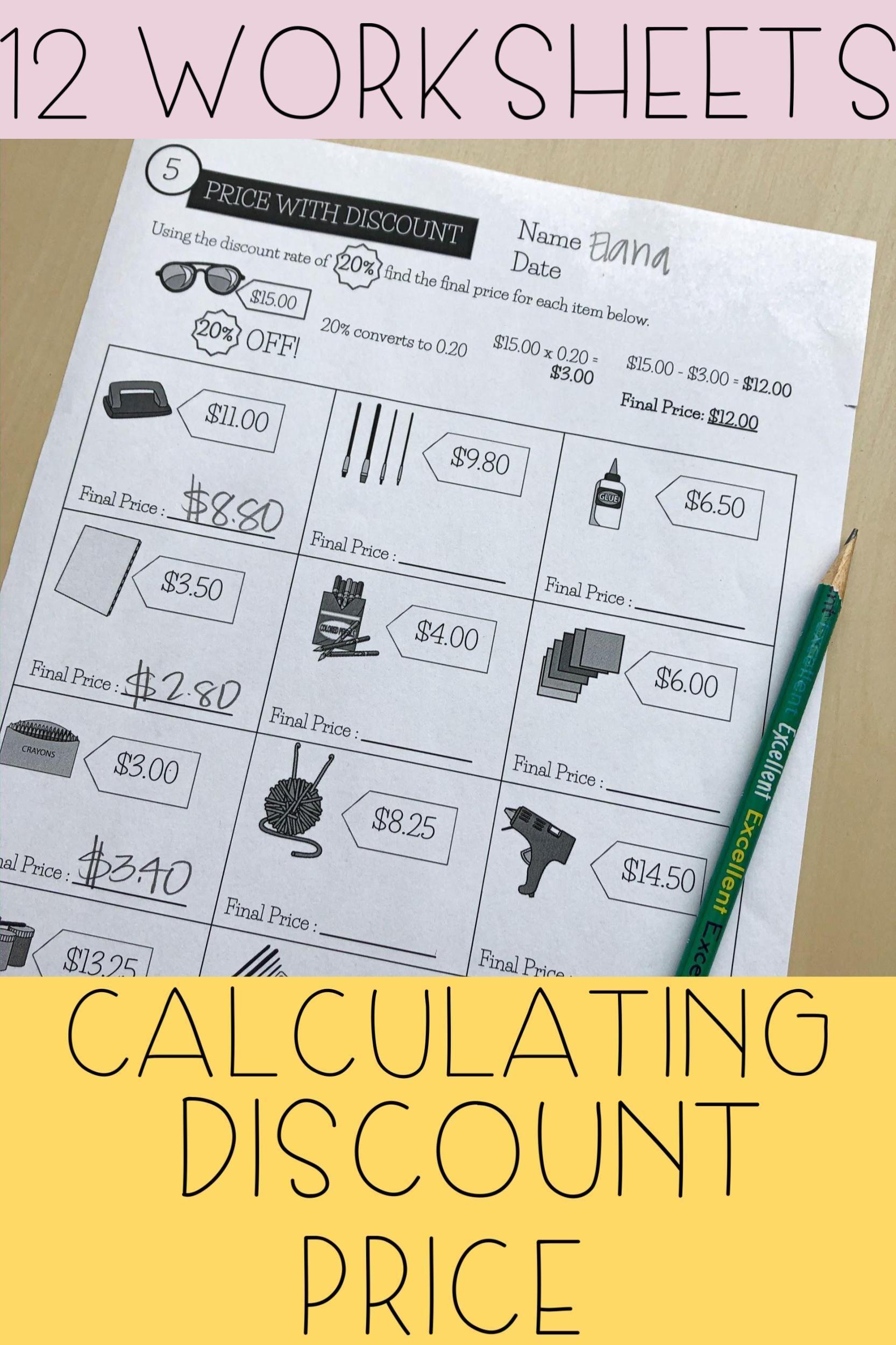 Price With Discount Worksheets Money Skills Life Skills Living Skills