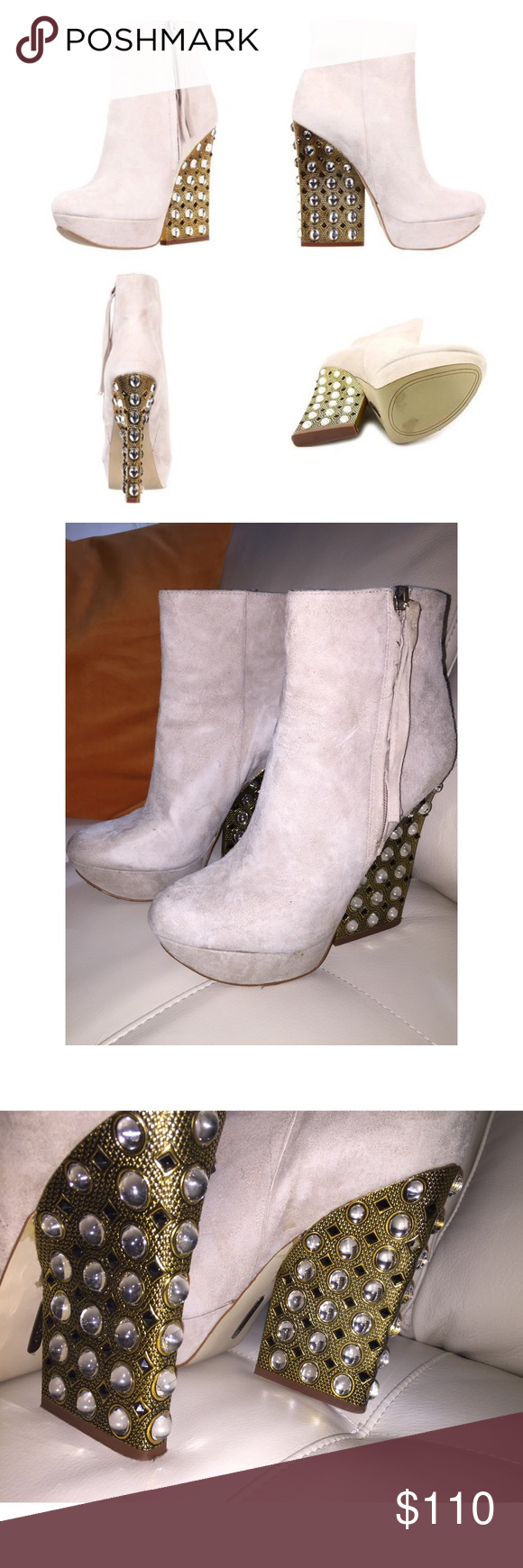 Studded Booties Beige suede booties with gold and silver hardware. ✨Show stopper booties✨ Boutique 9 Shoes
