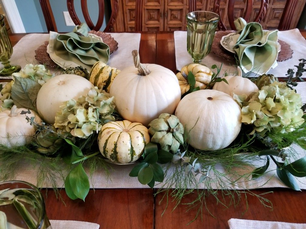My Centerpiece I Made From Various Sized White Pumpkins And Squash With Fresh Eucalyp Pumpkin Table Decorations Thanksgiving Flowers White Pumpkin Centerpieces