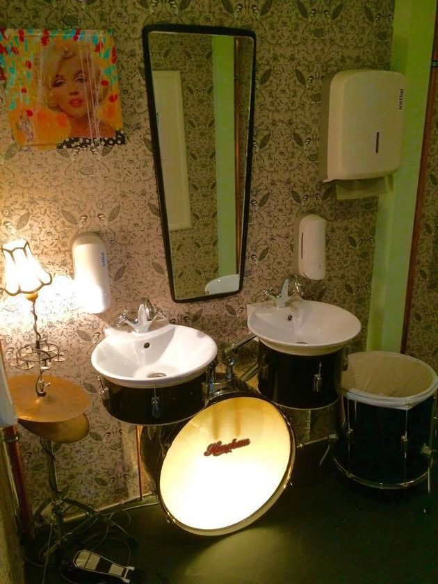 My Friend Used His Old Drum Kit For Bathroom