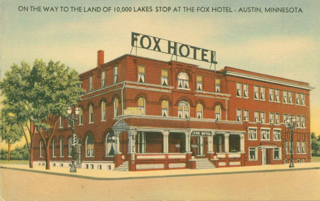 Fox Hotel Austin Mn Vintage Linen Postcard Postcards Pinterest