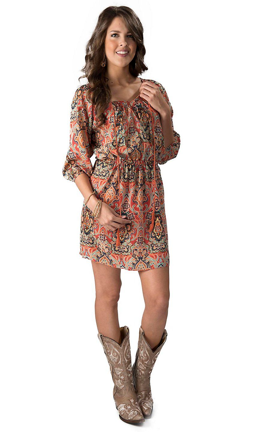 Cowgirl Justice Women's Coral, Aqua and Navy Paisley 3/4 Sleeve ...