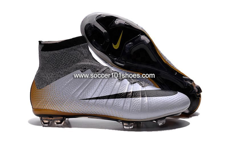 e6be94715 Nike Kids Mercurial X Superfly IV FG High Top Football Shoes Soccer Boots  Silver Grey
