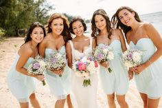 Maids in seafoam colored dresses for ocean-themed wedding - Dreamy Pastel Hued Wedding in Hawaii - Bridal Musings Wedding Blog