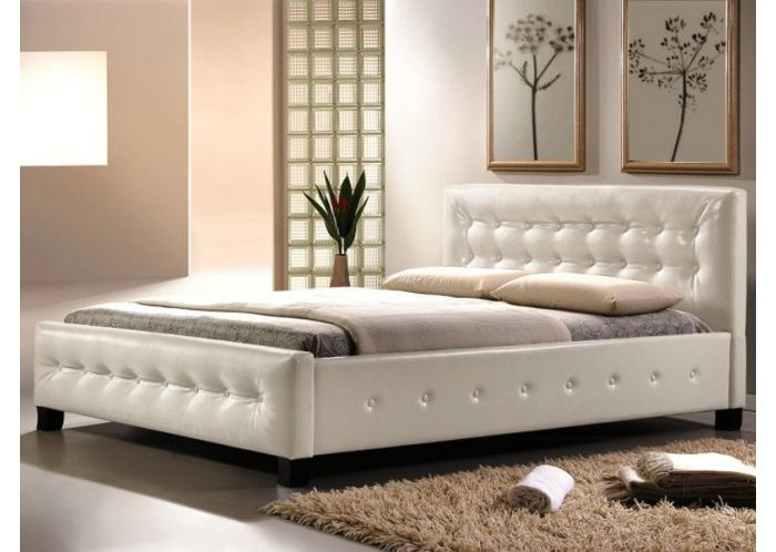 lit design simili cuir barceno sommier 160x200 cm blanc tapisserie pinterest bed. Black Bedroom Furniture Sets. Home Design Ideas