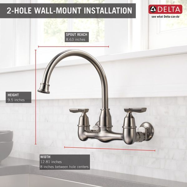 Two Handle Wall Mounted Kitchen Faucet 22722lf Ss Delta