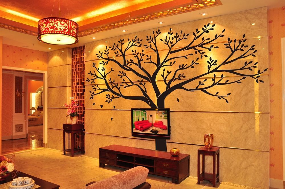 removable black tree morden mural vinyl sticker wall decal on wall stickers for hall id=93556