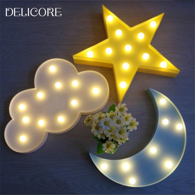 Delicore Lovely Cloud Light 3d Star Moon Night Light Led Cute Marquee Sign For Baby Children Bedroom Decor Kids Cloud Lights 3d Led Night Light 3d Night Light