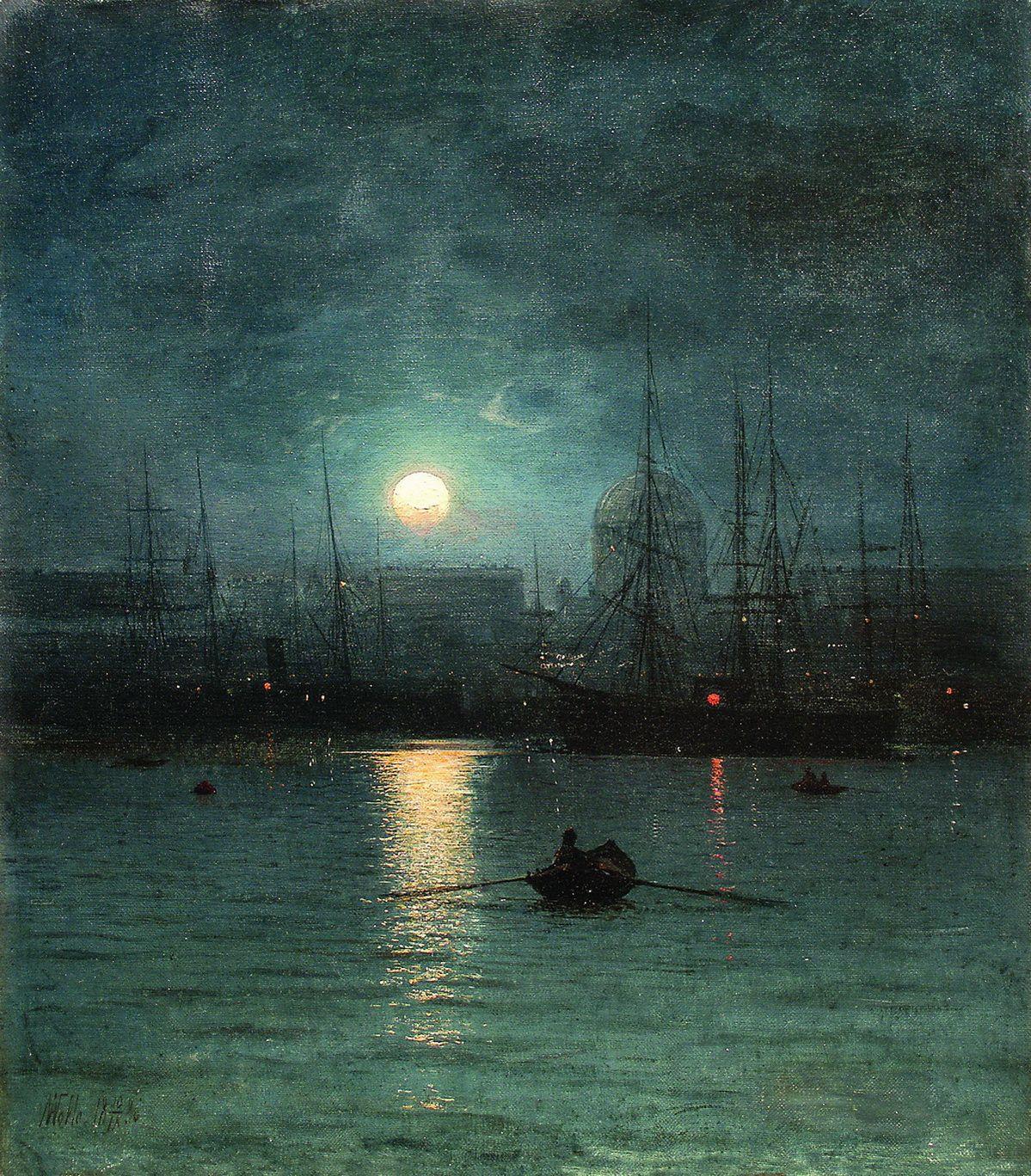 The Athenaeum Moonlit Night Lev Lagorio Night Scenery Moonlight Painting Fantasy Landscape