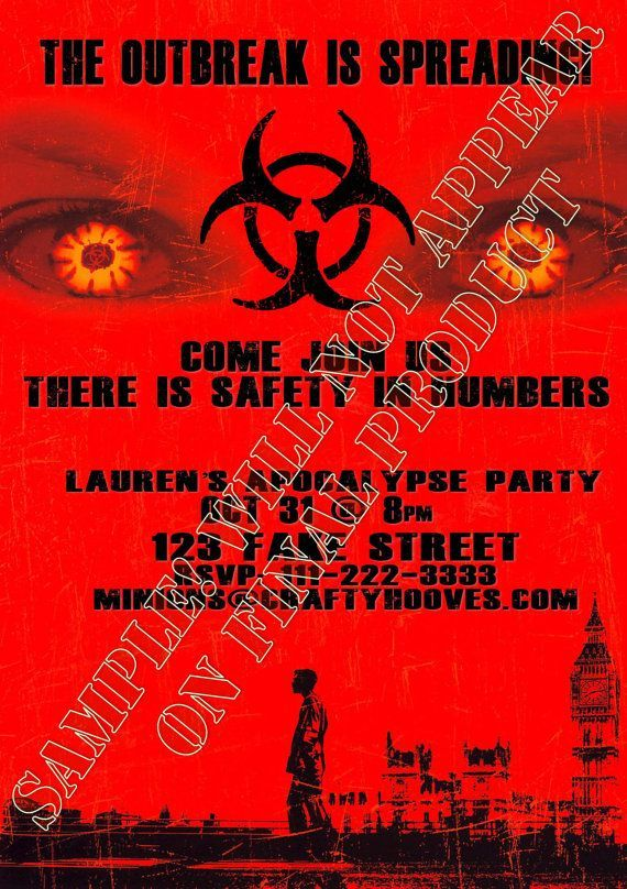 Zombie Apocalypse Outbread 28 Days Halloween Party Invitations U-Print Custom #zombieapocalypseparty Zombie Apocalypse Outbread 28 Days Halloween Party Invitations U-Print Custom #zombieapocalypseparty