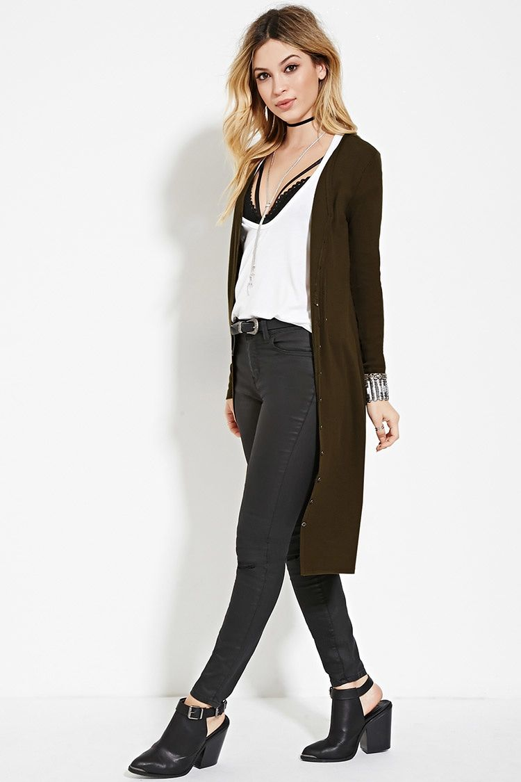Style Deals - A longline cardigan crafted from lightweight ribbed ...