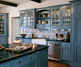 New Country Blue Kitchen Cabinets